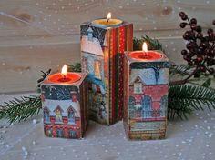 Wooden Christmas, Holidays decor, Christmas decoration, candle holder, wooden tea light holder,wood tea light holder,Rustic, Vintage style