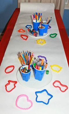 Use butcher paper for the kids for a kid's art party. Kid's arts & crafts and party ideas.
