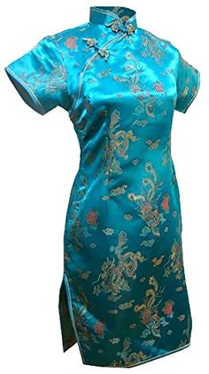 2ee530d7582 7Fairy Womens Vtg Turquoise Dragon Mini Chinese Prom Dress Cheongsam Size  18 US  gt  gt