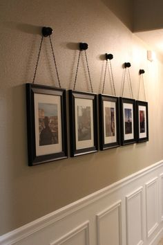 DIY Chained Frames – Frills and Drills – Decorating Foyer Hallway Wall Decor, Hallway Decorating, Entryway Decor, Interior Decorating, Hanging Picture Frames, Hanging Pictures, Home Projects, Living Room Decor, Diy Home Decor