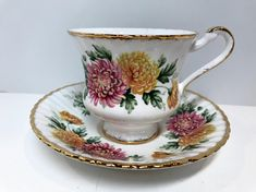 Etsy :: Your place to buy and sell all things handmade Antique Tea Cups, Vintage Teacups, Vintage Dishes, November Birth Flower, Chrysanthemum Tea, Anniversary Flowers, Antique Decor, Funny Art, Tea Cup Saucer