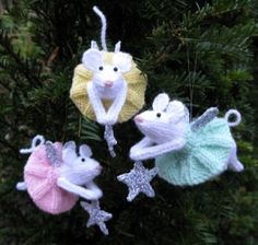 Furry Fairies and other knitted Christmas ornaments- I have GOT to improve at knitting, or get my knitter- extraordinaire MIL to make these for me!