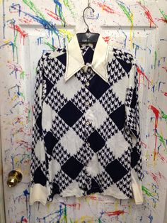 Vintage men's button down pimp polyester nylon disco shirt size medium 15 blue white hounds tooth squares by RagsAGoGo, $25.00