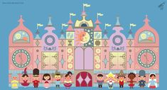 In honor of the 50th Anniversary of Disney's It's A Small World. This illustration is based on the Disneyland Paris version of the attraction with some of the many dolls that represent all differen... Disney Pop Art, Disney Diy, Disney Love, Small World Disneyland, Disneyland Paris, Disney Window Decoration, Disney Parks, Disney Pixar, Walt Disney