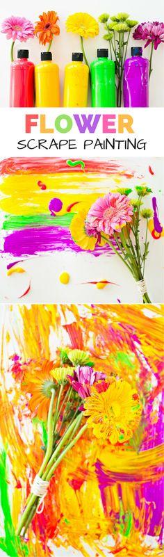 Flower Scrape Painting With Kids. Beautiful Spring Process Art.