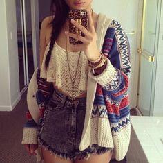 high waist + crop top + cardigan
