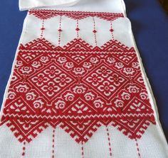 Ukrainian  cross stitched table runner  similar to the one our Ukrainian cousin Martha gave me last year when we visited the relatives in the Ukraine.