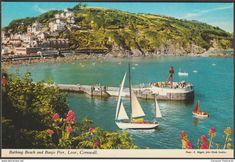 Bathing Beach and Banjo Pier, Looe, Cornwall, c.1970s - John Hinde Postcard