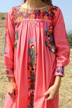 Rare and Gorgeous Oaxacan Dress Longer Sleeves Lot's of Detailed Embroidery VERY Detailed Hand Embroidered Flowers in Bold Colors Maxi Length Crochet Details
