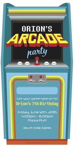 Retro Arcade Game Birthday Invitation Digital File Retro arcade