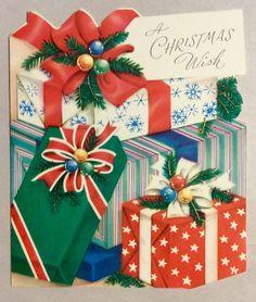 Beautifully Wrapped Presents Bows Ribbon 1950's Vintage Christmas Greeting Card | eBay
