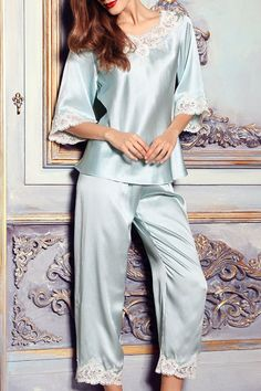 Dezzal Shop DILANSI Embroidered Sleepwear Blouse With Pants here 807b57549