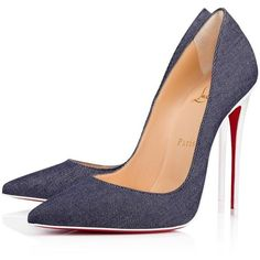 So Kate 120 Blue/Latte Denim - Women Shoes - Christian Louboutin (£500) ❤ liked on Polyvore featuring shoes, pumps, stiletto pumps, pointed-toe pumps, pointed toe stiletto pumps, denim shoes and high heel stilettos