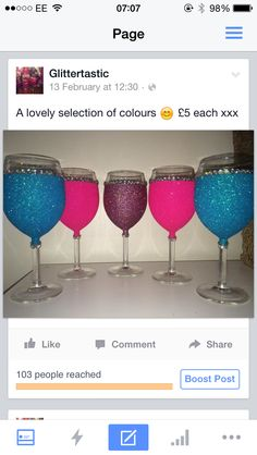 Glitter wine glass with gems only £5. Purchase online at www.facebook.com/theglitterroom