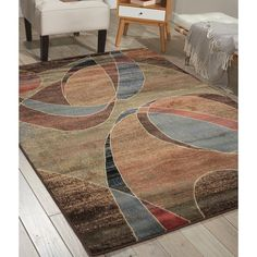 Nourison Expressions Multicolor Ribbons Rug - x (Multicolor - x Blue (Acrylic, Abstract) - Area Rugs Refinish Wood Floors, Old Wood Floors, Country Western Decor, Synthetic Rugs, Best Flooring, Shades Of Beige, New Carpet, Muted Colors, Home Decor Trends