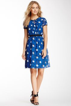 Erudite- Uttam Boutique Butterfly and Spot Print Tea Dress