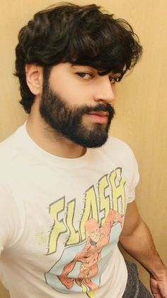 An awesome hairstyle and thick moustache and beard for a boy to man transformation! Great Beards, Awesome Beards, Beard Styles For Men, Hair And Beard Styles, Beard No Mustache, Moustache, Beautiful Men Faces, Gorgeous Men, Hairy Men
