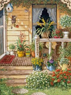 Summer Front Porch, an original oil painting and a giclee , personally enhanced and by the artist Janet Kruskamp showing the front door, narrow window and a deck like porch. Painting & Drawing, Painting Prints, Watercolor Paintings, Fine Art Prints, House Painting, Painting Doors, Summer Front Porches, Summer Porch, Summer Time