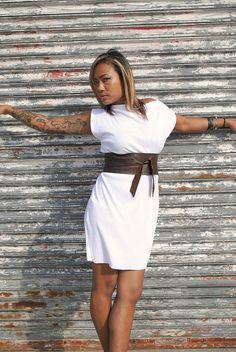 Brown Leather Obi Belt Japanese Style Womens by FineThreadz, $39.00