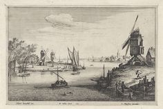 Landschap met drie windmolens langs een rivier, Wenceslaus Hollar, Joannes Meyssens, 1651