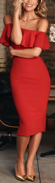 this red off the shoulder bodycon looks stunning on her <3