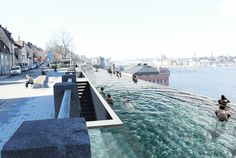 World Architecture Community News - UMA proposes a kilometre-long infinity pool to create unique public space in Stockholm's waterfront Best Swimming, Swimming Pools Backyard, Swimming Pool Designs, Lap Pools, Architecture Design, Futuristic Architecture, Landscape Architecture, Sweden Stockholm, Stockholm Design