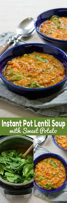 This Instant Pot Lentil Soup with Sweet Potatoes is not only delicious and satisfying, but also happens to be vegan! 188 calories and 4 Weight Watchers SmartPoints