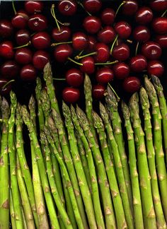 cherries and asparagus.
