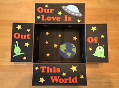 """""""Our Love is Out of This World"""" Care Package. Alien, outer space care package"""