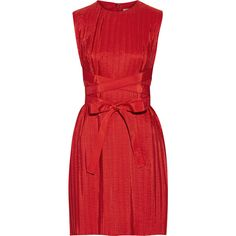 Victoria, Victoria Beckham Belted pleated taffeta dress (21.810 RUB) ❤ liked on Polyvore featuring dresses, short dresses, vestidos, victoria beckham, red, red cocktail dress, mini dress, pleated dress and pleated mini dress