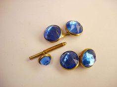 Vintage Art Deco Faux Blue Topaz Cufflinks by NeatstuffAntiques, $40.00