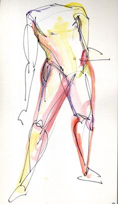 Pen and water color gesture drawing