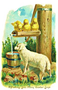 vintage Easter Lamb, chicks at well