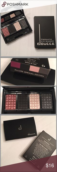 🆕DOUCCE FREEMATIC EYE SHADOW PALETTE🆕 🆕BRAND NEW IN BOX!🆕 FREEMATIC QUAD EYE SHADOW PALETTE IN THE COLOR ALLURE SPECIAL EDITION. RECEIVED IN MY ALLURE SUB BOX. GORGEOUS SHADES FOR FALL! COLORS CAN BE SWITCHED OUT FOR NEW SHADES WHEN EMPTY OR IF YOU JUST WANT OTHER COLORS! DID NOT COME WITH THE APPLICATOR. NOT SURE IF THAT WAS INTENTIONAL BUT IMO THEY ARE PRETTY USELESS ANYWAYS😬 doucce Makeup Eyeshadow