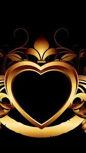 By Artist Unknown. Bling Wallpaper, Heart Wallpaper, Wallpaper Backgrounds, Iphone Wallpapers, I Love Heart, Heart Of Gold, Heart Pictures, New Pictures, Black And Gold Aesthetic