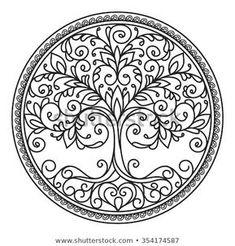 decor element vector black and white illustration mandala tree circle heart leaves plant design element abstract Life Tattoos, New Tattoos, Plant Tattoo, Tattoo Tree, Dotwork Tattoo Mandala, Tree Of Life Painting, Circle Tattoos, Image Nature, Trendy Tree