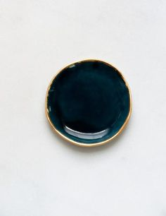 Ring Dish in Tourmaline with Gold Rim