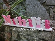 MayMig Artes Manuales: Nombre en madera para decorar. Measuring Spoons, Country, Wooden Letters, Hand Art, Kids Rooms, Stall Signs, Manualidades, Rural Area, Country Music