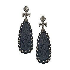 Black Floral Diamond Drop Earrings ($1,705) ❤ liked on Polyvore featuring jewelry, earrings, jewelry-earrings, fine jewelryearrings, post drop earrings, drop earrings, pave jewelry, earring jewelry and floral earrings