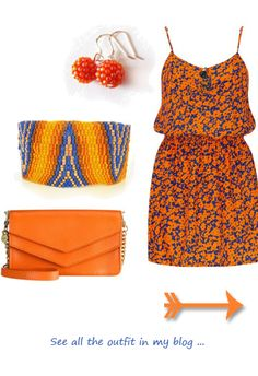 orange and blue spring flowers dress outfit