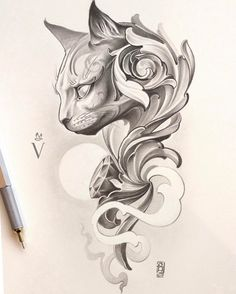 Cat and cool swirls sketch. Новости