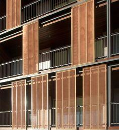 Since 1998 the Web Atlas of Contemporary Architecture Metal Facade, Facade Architecture, Contemporary Architecture, Metal Shutters, Facade Pattern, Sliding Panels, Apartment Balconies, Parasol, House Windows