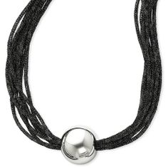 16 inch Sterling Silver Beaded Satin Mesh Black Necklace - http://www.specialdaysgift.com/16-inch-sterling-silver-beaded-satin-mesh-black-necklace/