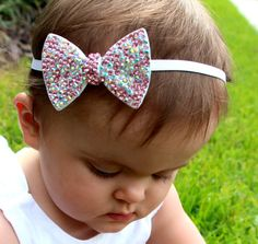 Pink BLING  Princess Bowtie Hair Bow Headband/ by CandyCoatedKids, $9.49