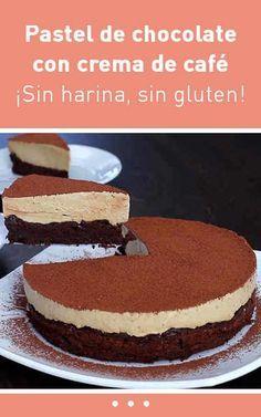 Pastel de chocolate con crema de café. ¡Sin harina, sin gluten!