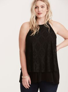 Crochet Double Layer Split Back Tank Top | Torrid
