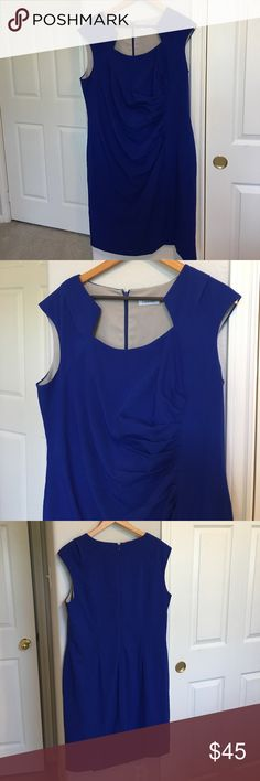 Calvin Klein Dress Royal blue rouched Calvin Klein dress with gorgeous neckline. Size 16W. I love offers! Calvin Klein Dresses
