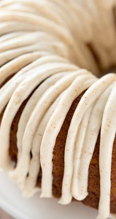 Brown Butter Pumpkin Bundt Cake ~ FULL of the best flavors... A soft, moist, and EASY pumpkin cake is filled with brown butter and topped with a brown butter frosting!