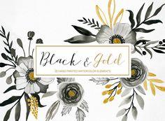 Acuarela floral clipart negro y oro elementos por LanaDreams
