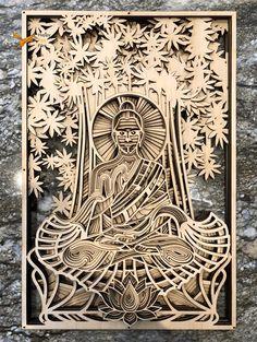 Buddha Files for laser DXF layered mandala Buddha Instant Laser Art, Laser Cut Wood, Cnc, Laser Cut Patterns, Leaf Patterns, Happy Fox, Laser Cut Files, Laser Cutting Machine, Scroll Saw